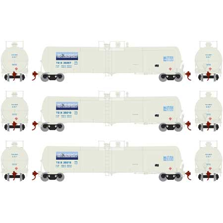 Athearn HO 28260 White TEIX 30,000 30k Gallon Ethanol Tank Car Set #1 (3)