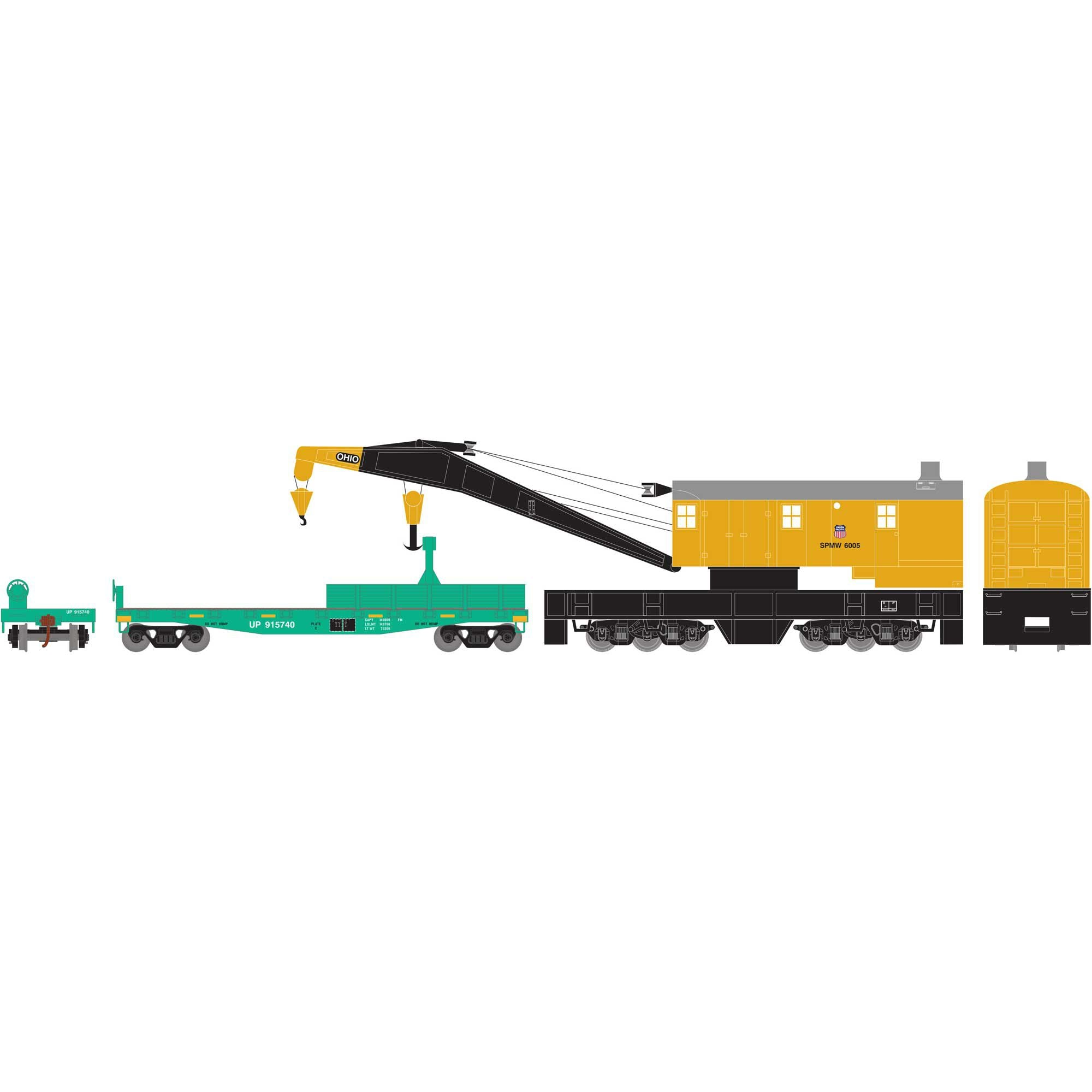 Athearn HO RTR 200 Ton Crane with Tender SPMW/Union Pacific #6005