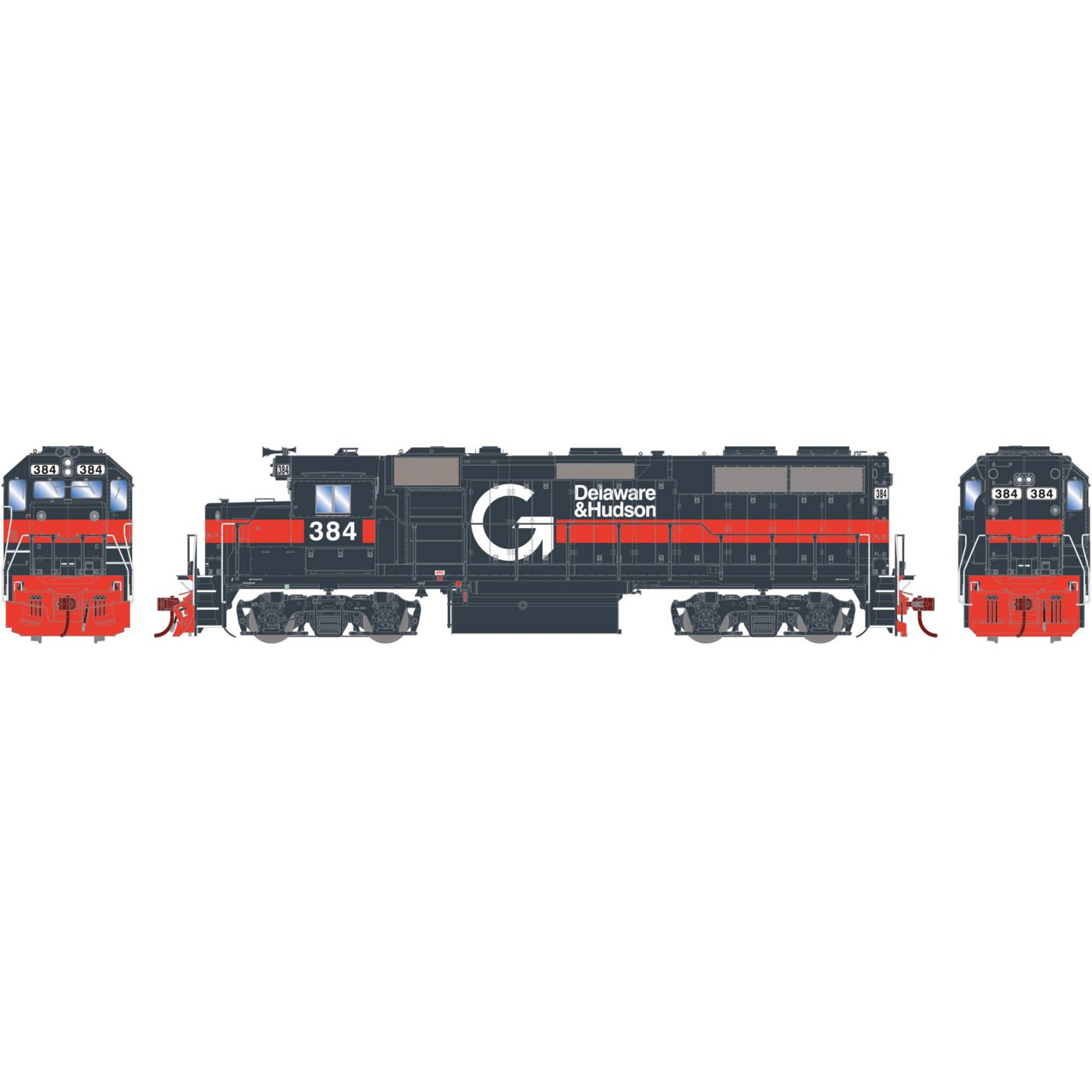 Athearn Genesis HO GP39-2 with DCC & Sound D&H Guilford #384