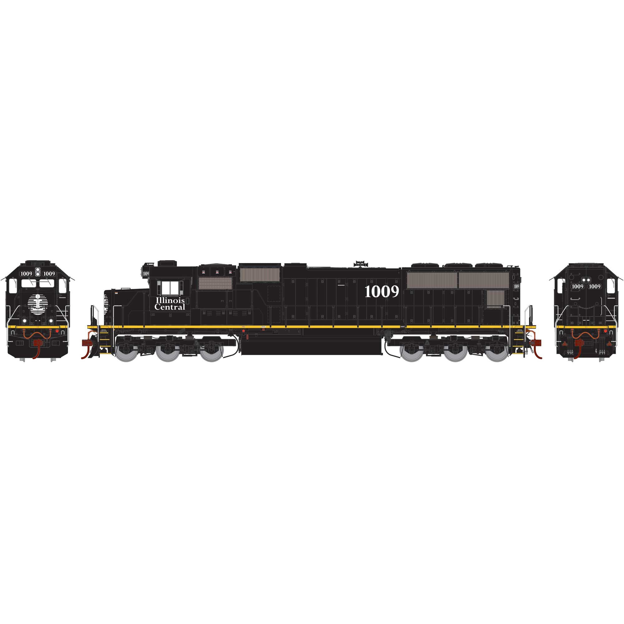 Athearn Genesis HO SD70, IC/Yellow Stripe #1009 DCC Ready