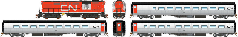 "Rapido HO Scale Canadian National ""CN"" Tempo Set (RS18 #3155, Club #324, Cafe #340, Coach #369) DCC/Sound"