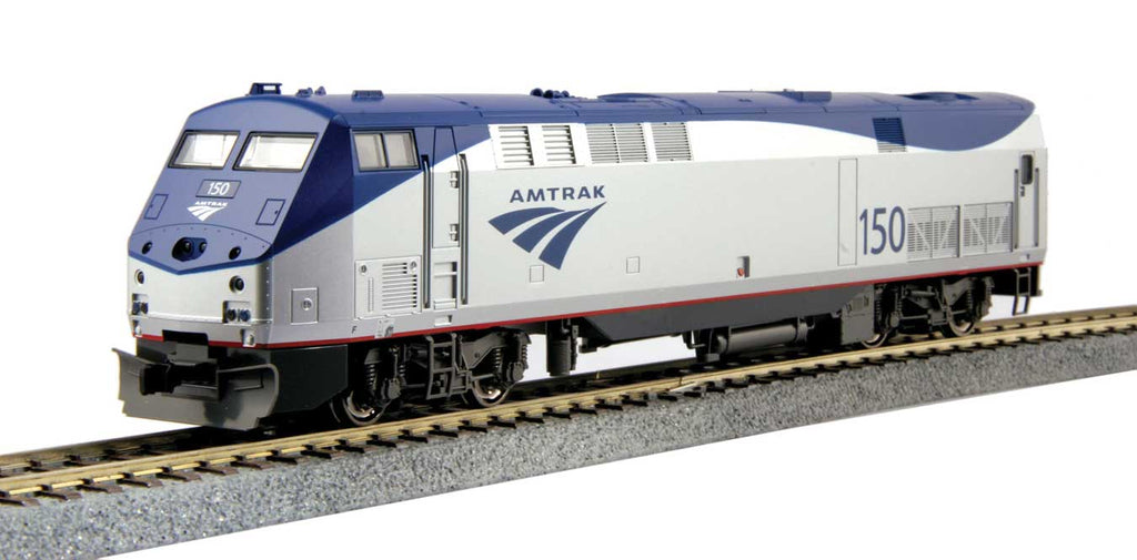 HO Kato Amtrak GE P42 Genesis #19 (Phase Vb Late, silver, blue, red)