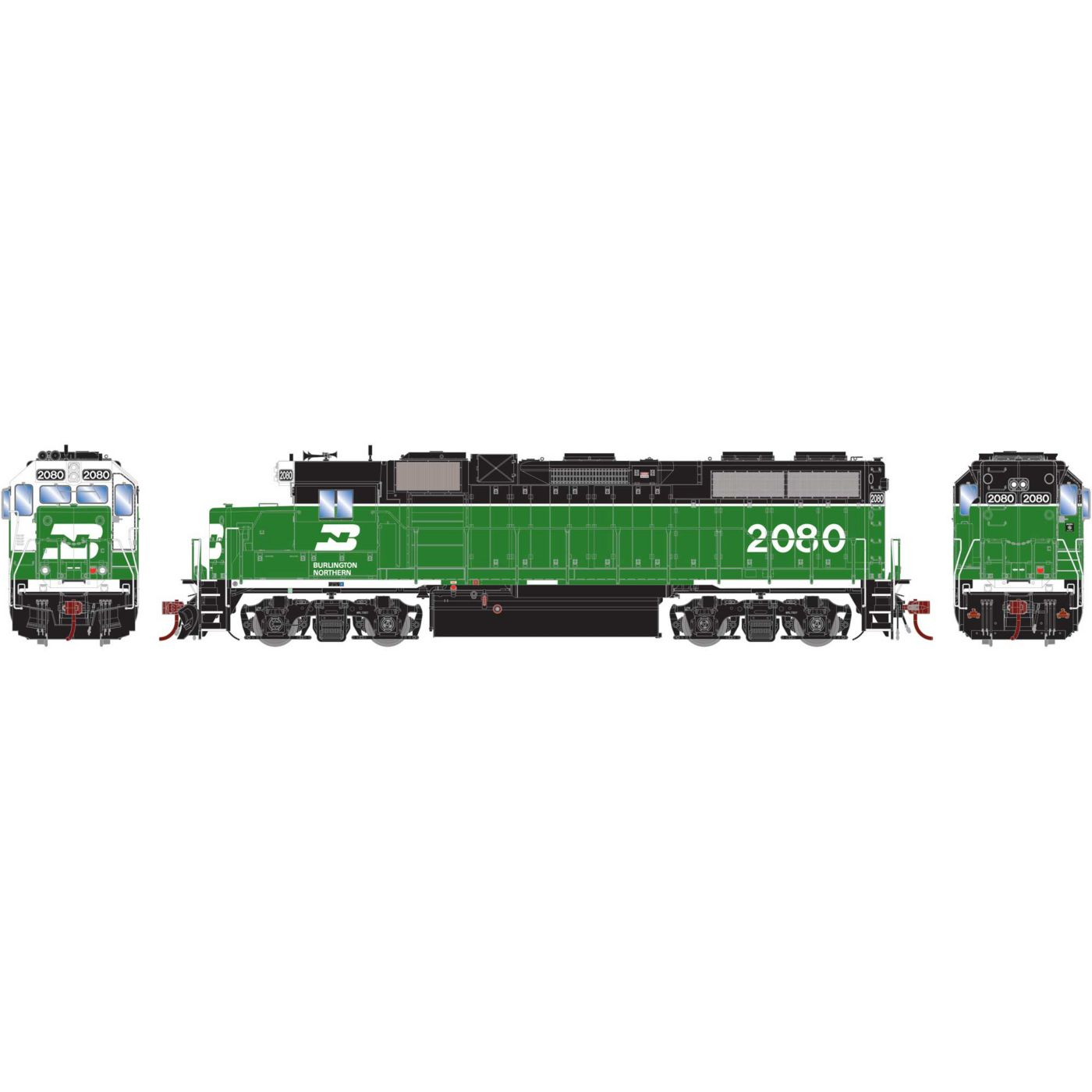 Athearn Genesis HO GP38-2,BN/White Face #2080 DCC Ready