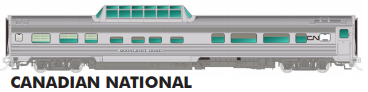 Rapido HO Scale Budd Mid Train Dome Car Canadian National, Starlight Dome