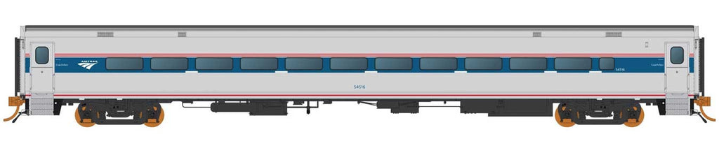 "Rapido HO Horizon Fleet Coach Amtrak ""Un-Numbered"" (Phase VI, silver, blue, red, Travelscape Logo)"