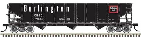 ATLAS HO AAR 70 TON 9 PANEL HOPPER, CHICAGO BURLINGTON QUINCY (CBQ) 172671