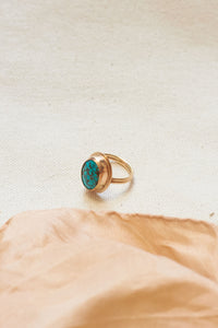 Double Banded Turquoise Ring - Size 4.5