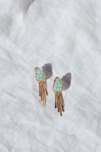 Turquoise Earrings with Gold Fringe #1
