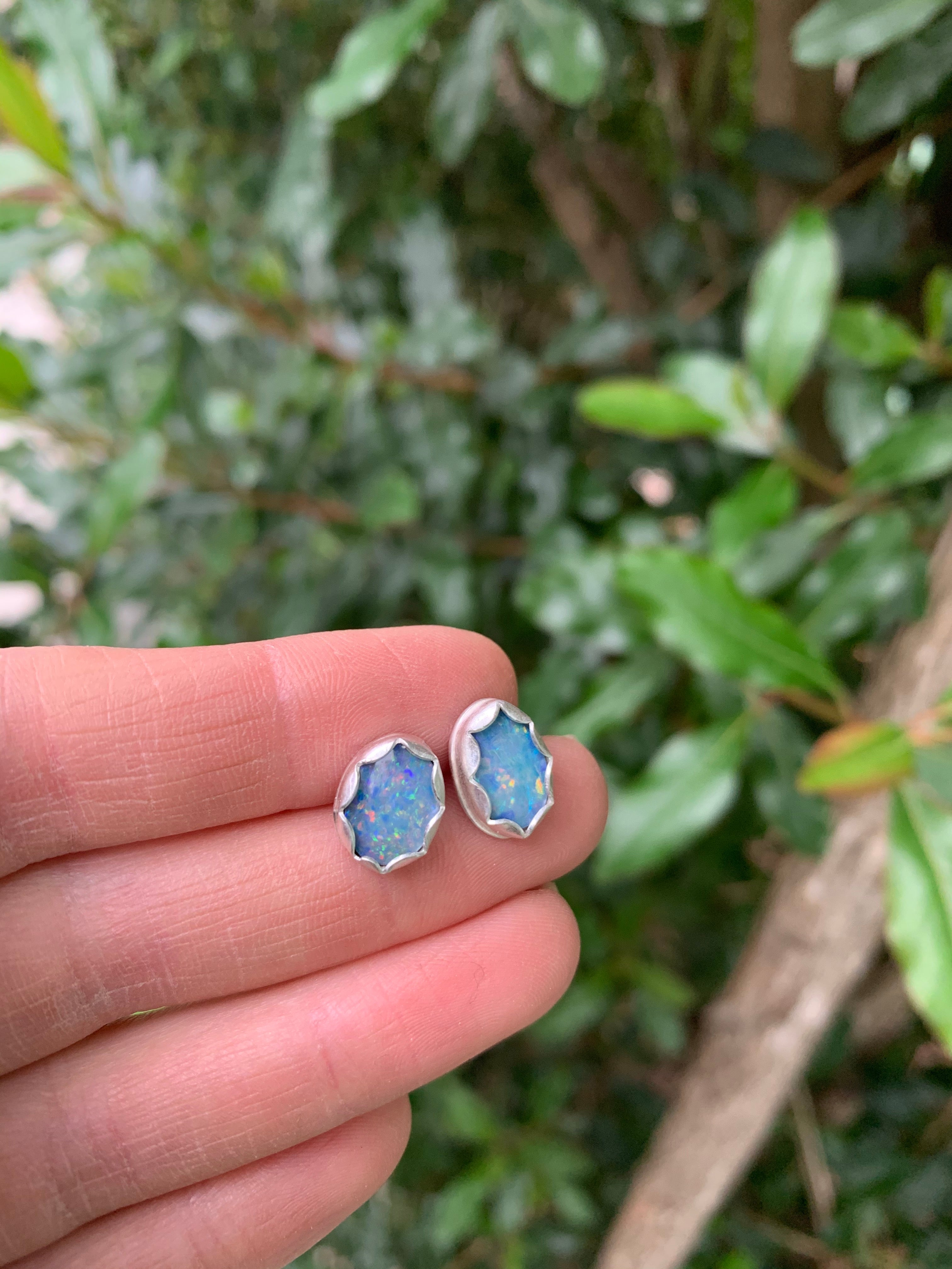 Half Moon Earrings with Australian Opals