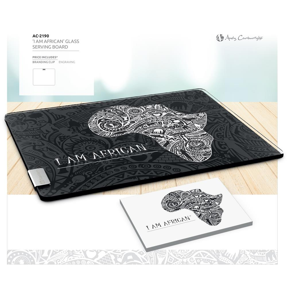 Andy Cartwright 'I Am African' Glass Serving Board