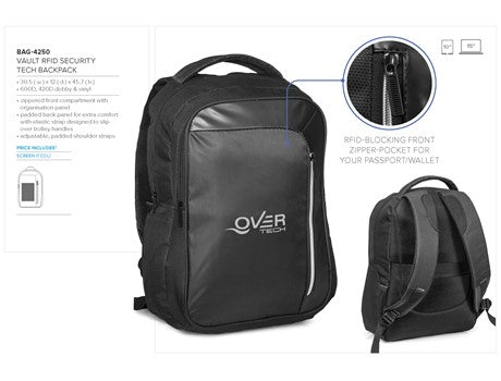 Vault Rfid Security Tech Backpack