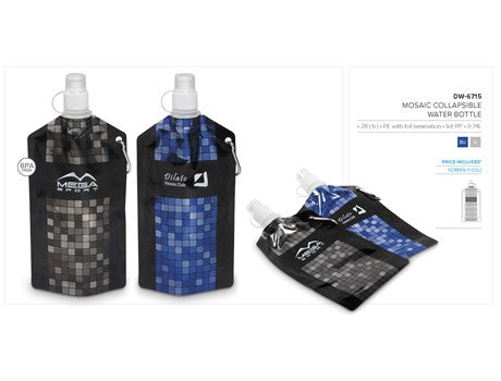 Mosaic Collapsible Water Bottle 740Ml