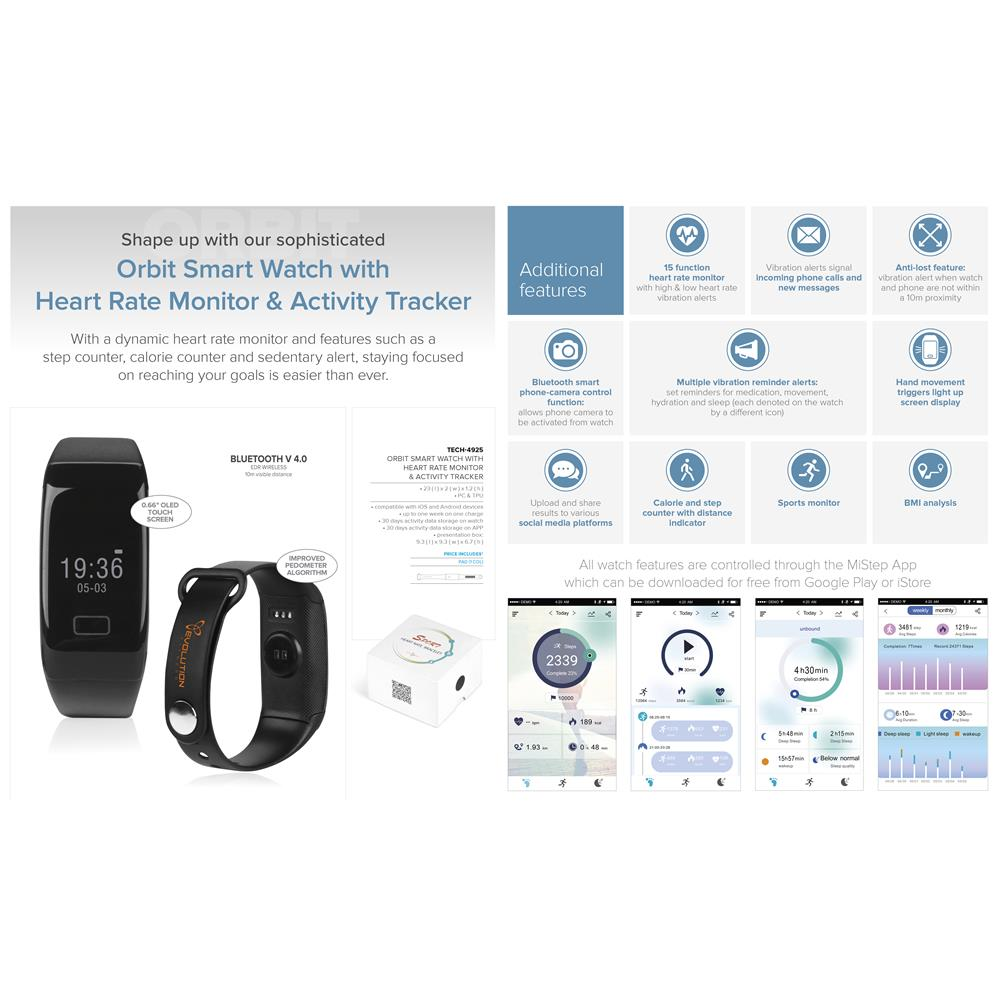 Orbit Smart Watch With Heart Rate Monitor & Activity Tracker