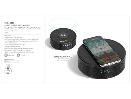 Prime Wireless Charger, Bluetooth Speaker & Clock Radio