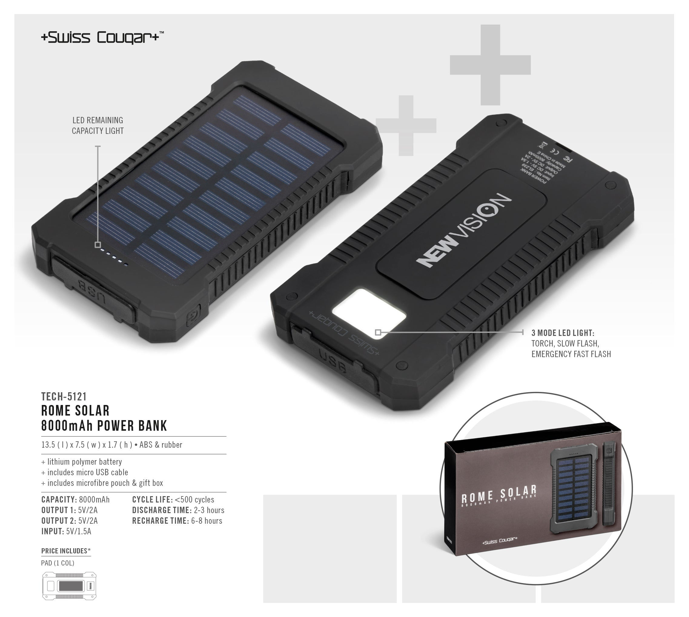 Swiss Cougar Rome Solar 8000mAh Power Bank