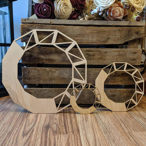 Geometric Wreath, Set of 3 (MDF)