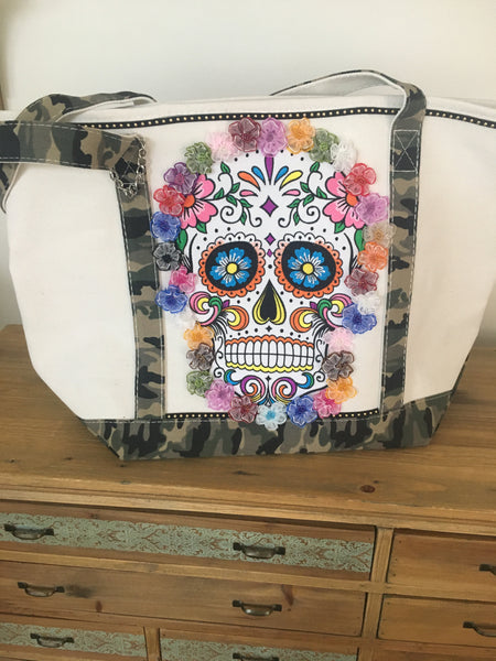 Sugar-Skull Market/Beach Tote Bag