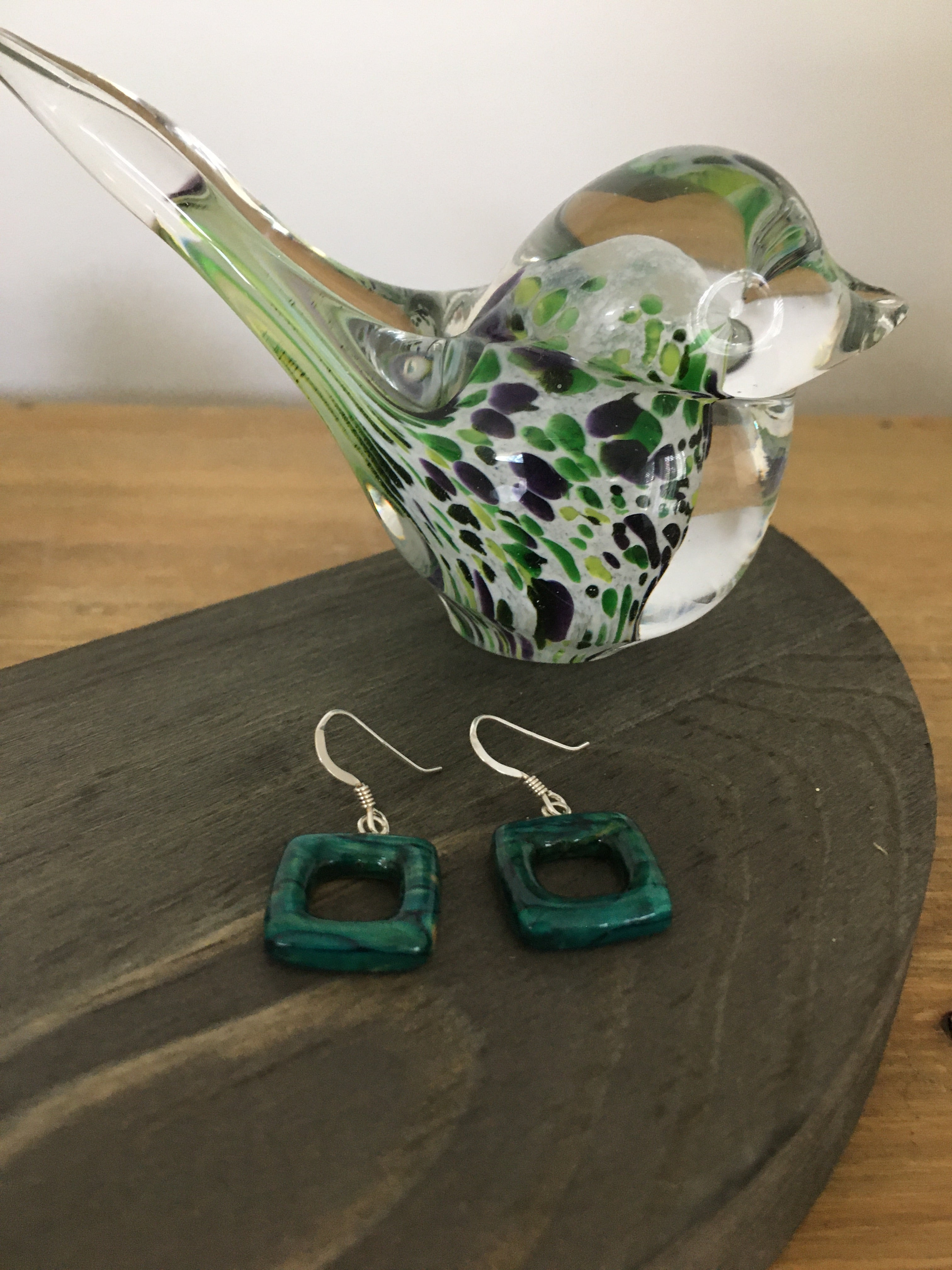 Open Square Drop Earrings
