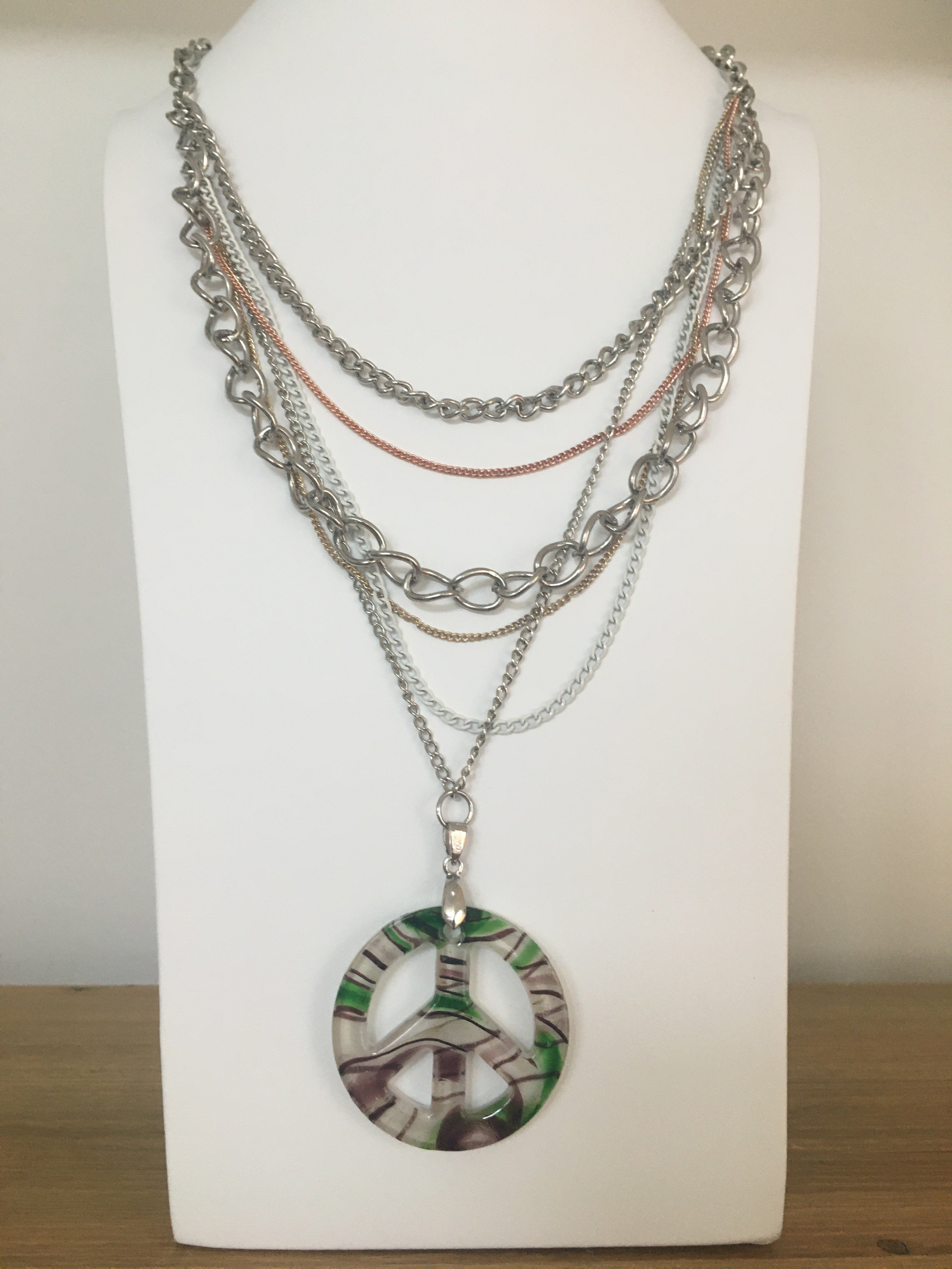 """Woodstock"" Peace sign Necklace"
