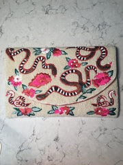 Whimsy Beaded Snake-Floral Clutch-Crossbody