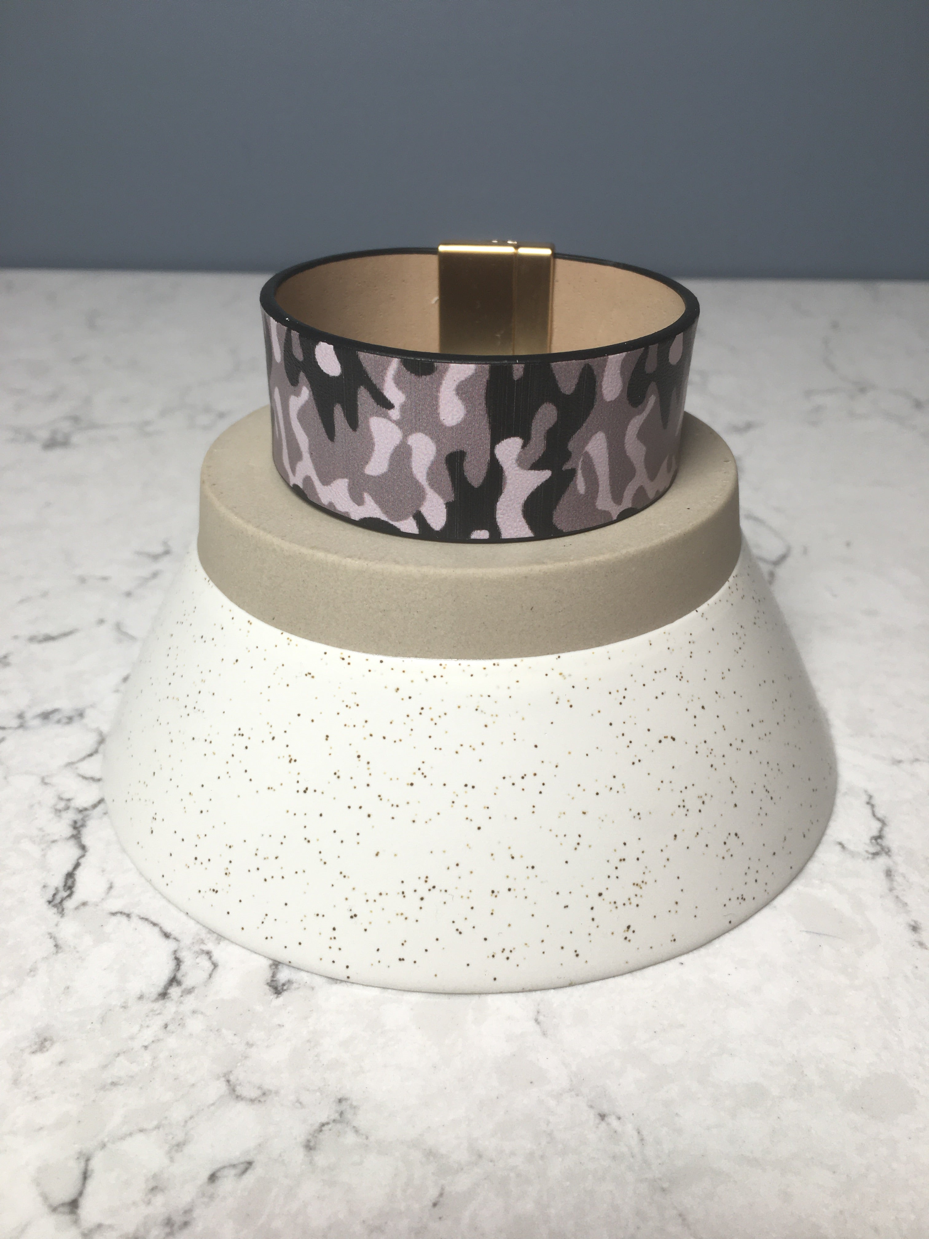 Faux Leather Camo Cuff Bracelet
