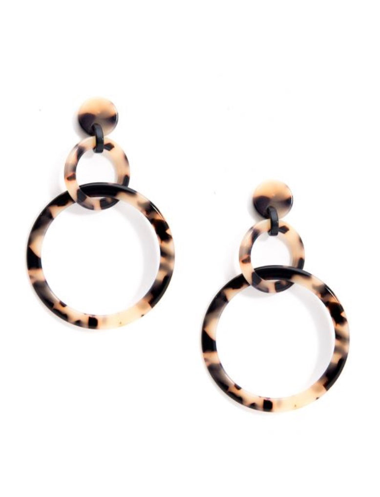 Tortoise Linked Circles Drop Earrings