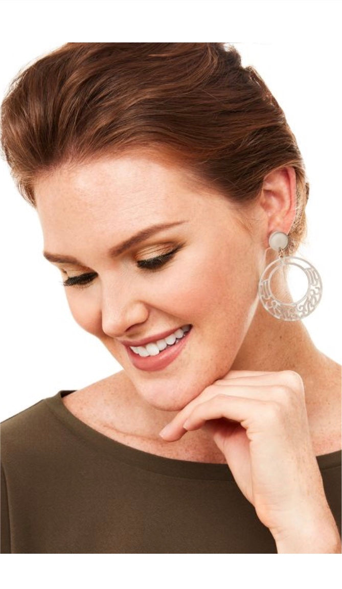 Resin Drop Hoop Earring with Lace Cutout