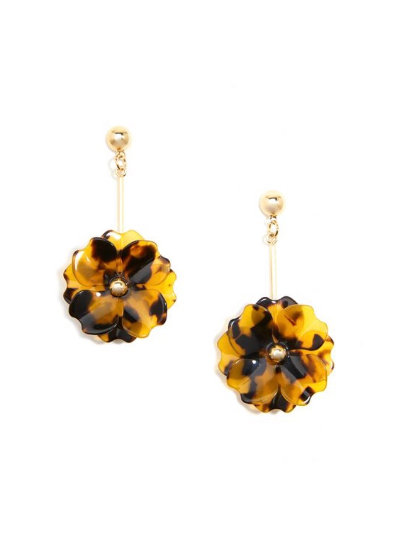 Tortoise Layered Flower Drop Earring
