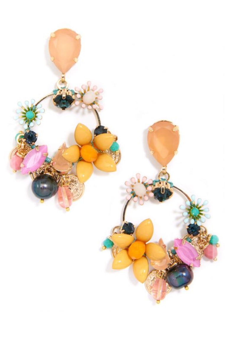 Colorful Crystals and Medallions Drop Earrings