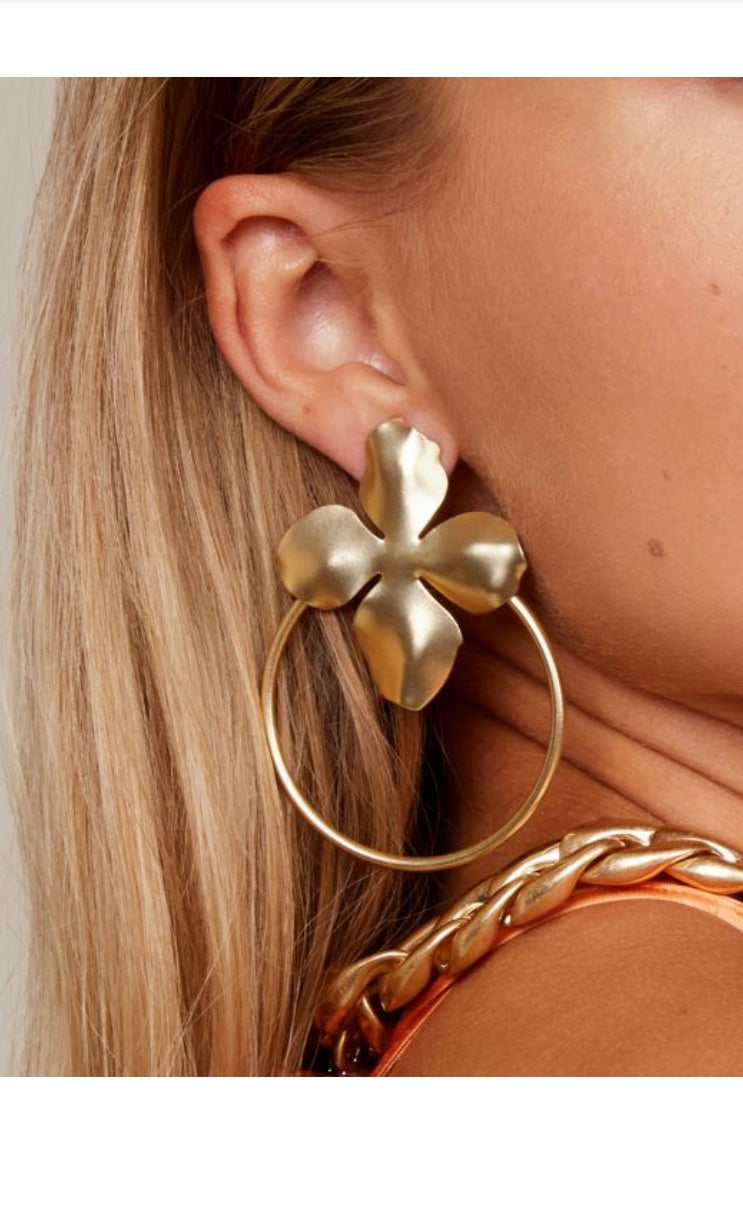 Floral Door Knocker Drop Earring