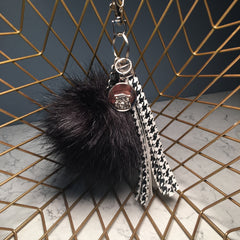 Tassel, PomPom & Bag Charm Combo (B/W Houndstooth-Black PP with Silver Hardware)