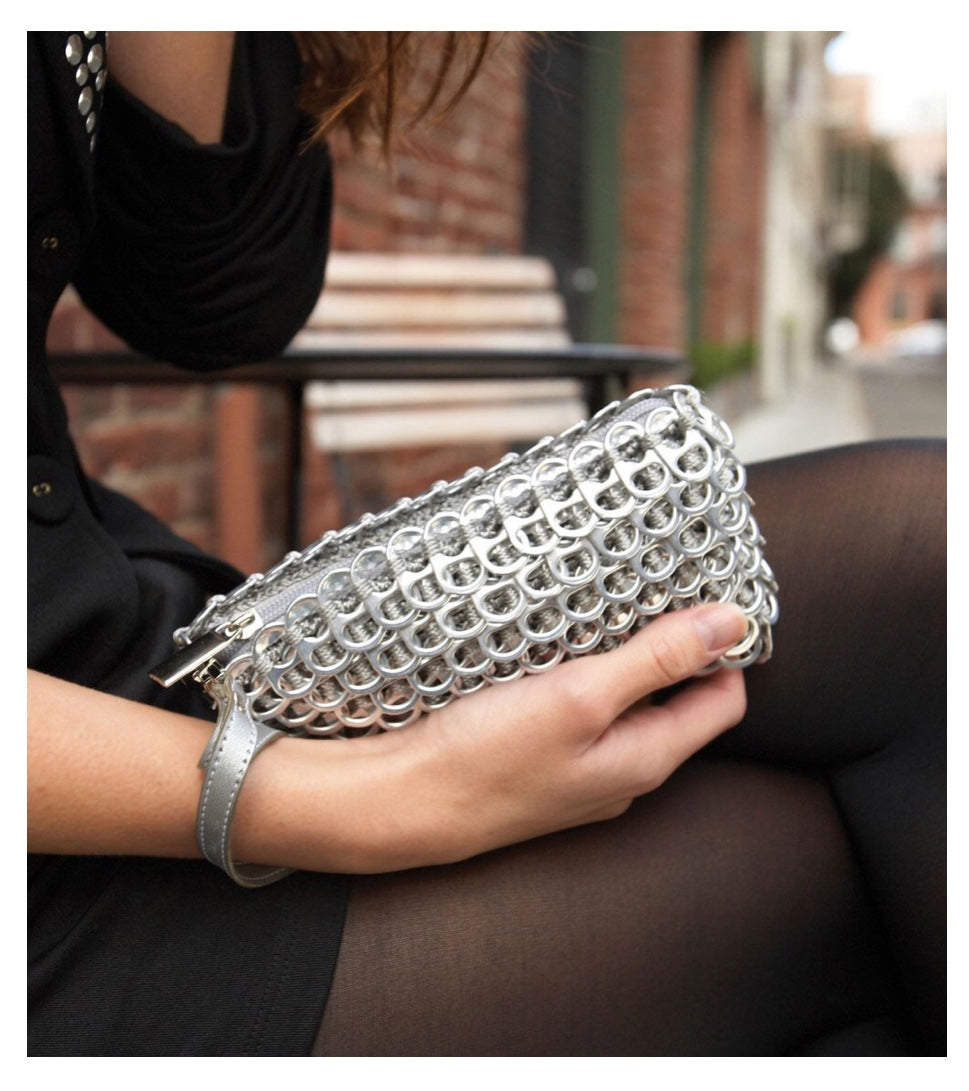 """Puff"" Silver Wristlet Pop Top Bag"