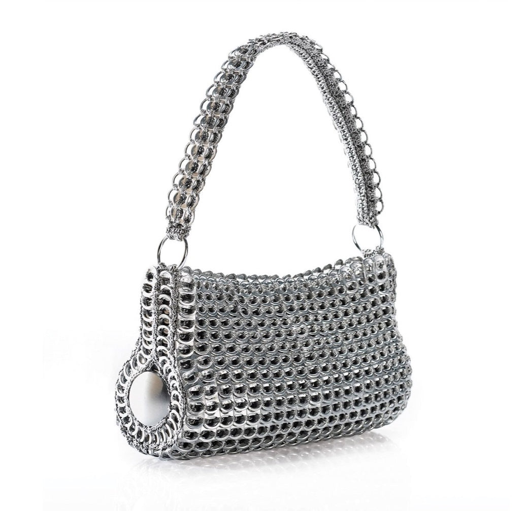 """Danubia"" Silver Barrel Pop Top Purse"