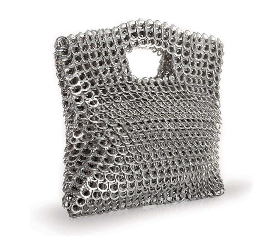 """Leda"" Silver Metallic Clutch"