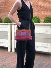 Teresa Plaid Wood Frame Clutch