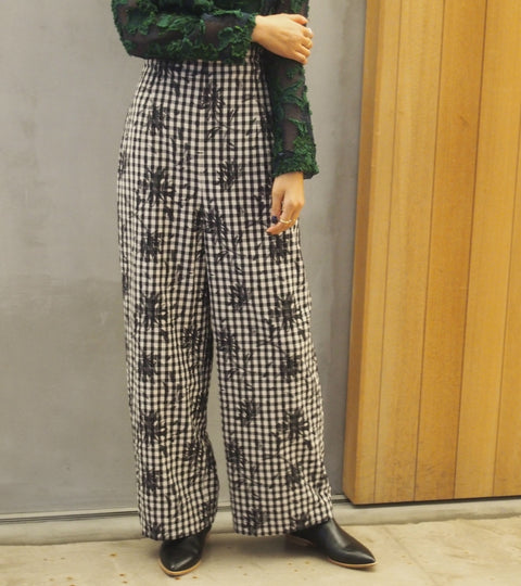 Gingham Check Flower Pants