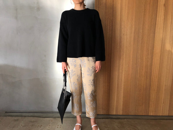 Black Knit ×Jacquard Pants