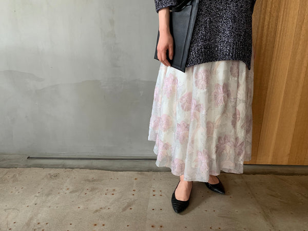 Long Knit × Skirt