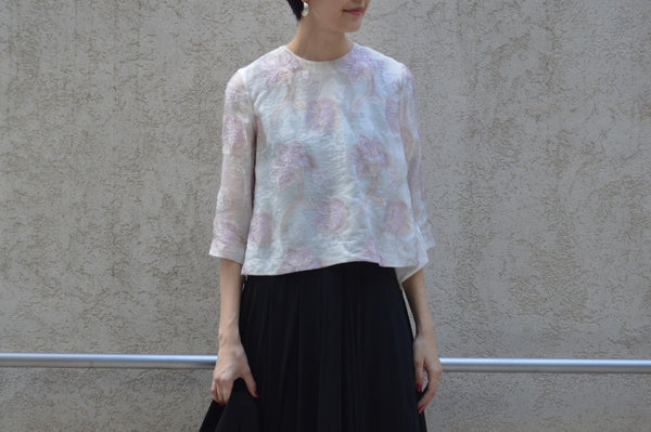 "Pick Up Item ""Limited Pastel Jacquard Flared Blouse"""
