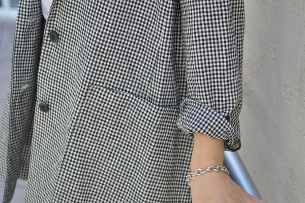 Cotton Linen Check Jacket