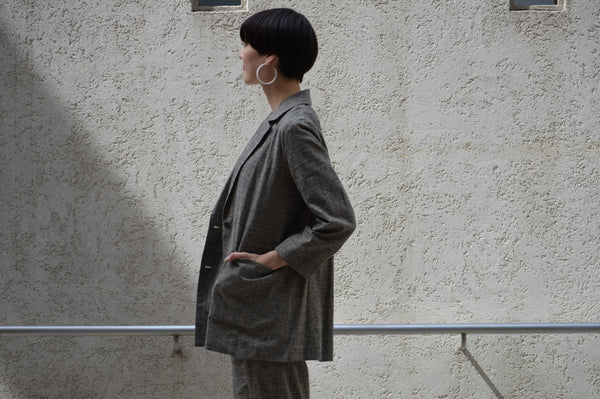 "Pick Up ""Cotton Linen Check Jacket+Belt """
