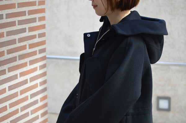 Reversible Charm Wool Hooded Coat