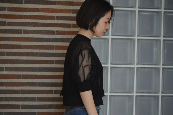 Sheer Knit Drop Shoulder Puff Sleeve Sweater