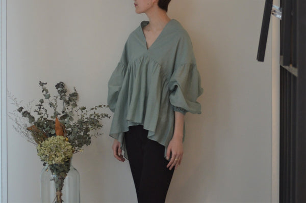 Sheer Striped Crepe Gather Blouse