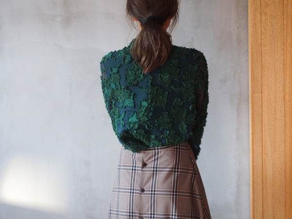 "Flower Sheer Jacquard ""GREEN"""