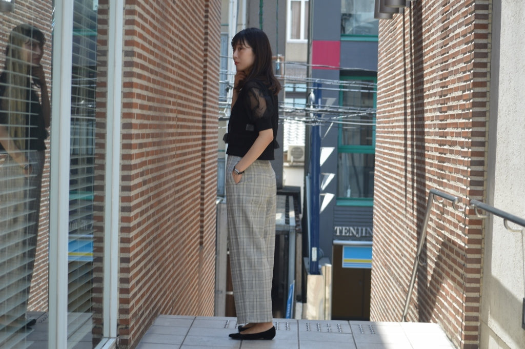 Cotton Over Plaid High Waisted Pants
