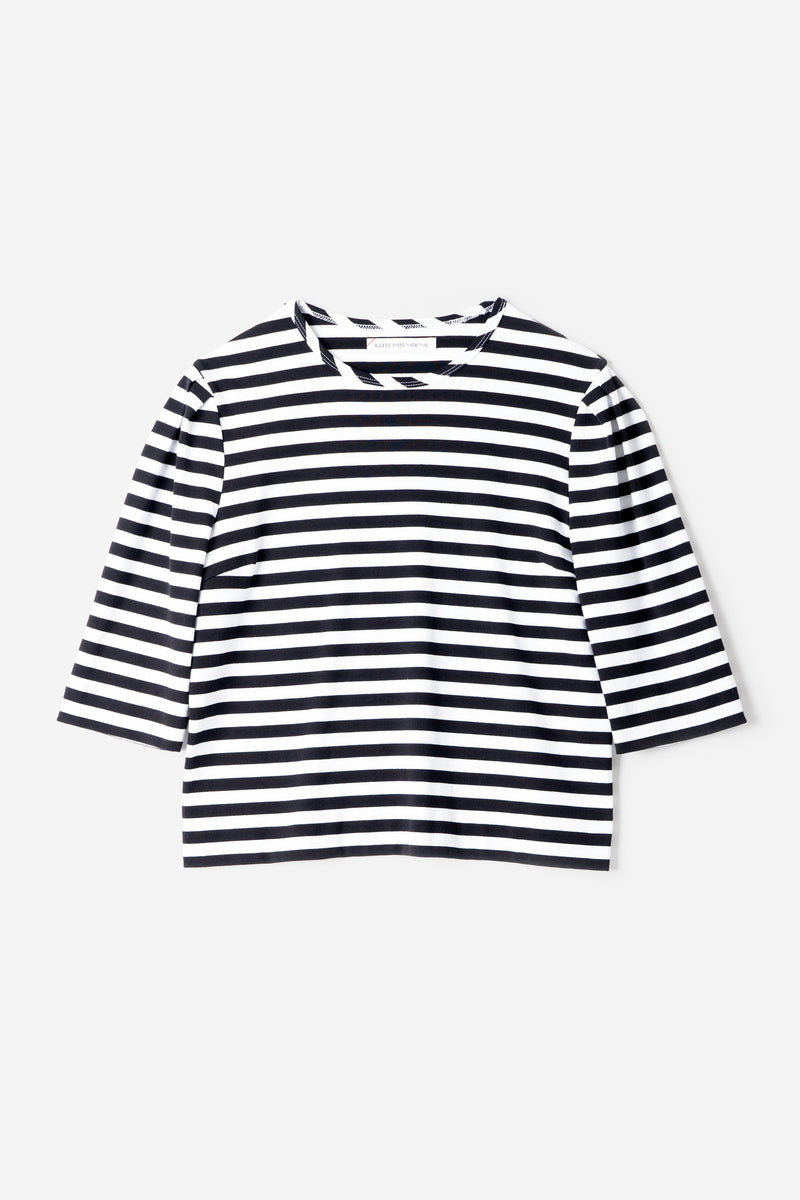 Technorama Stripe Crew Neck in White Mix