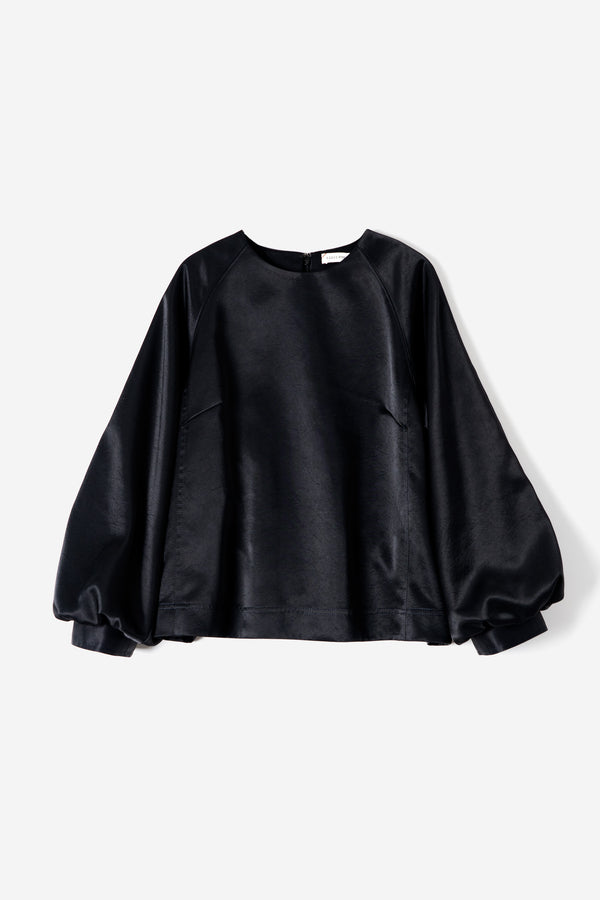 Vintage Pure Satin Puff Blouse in Black