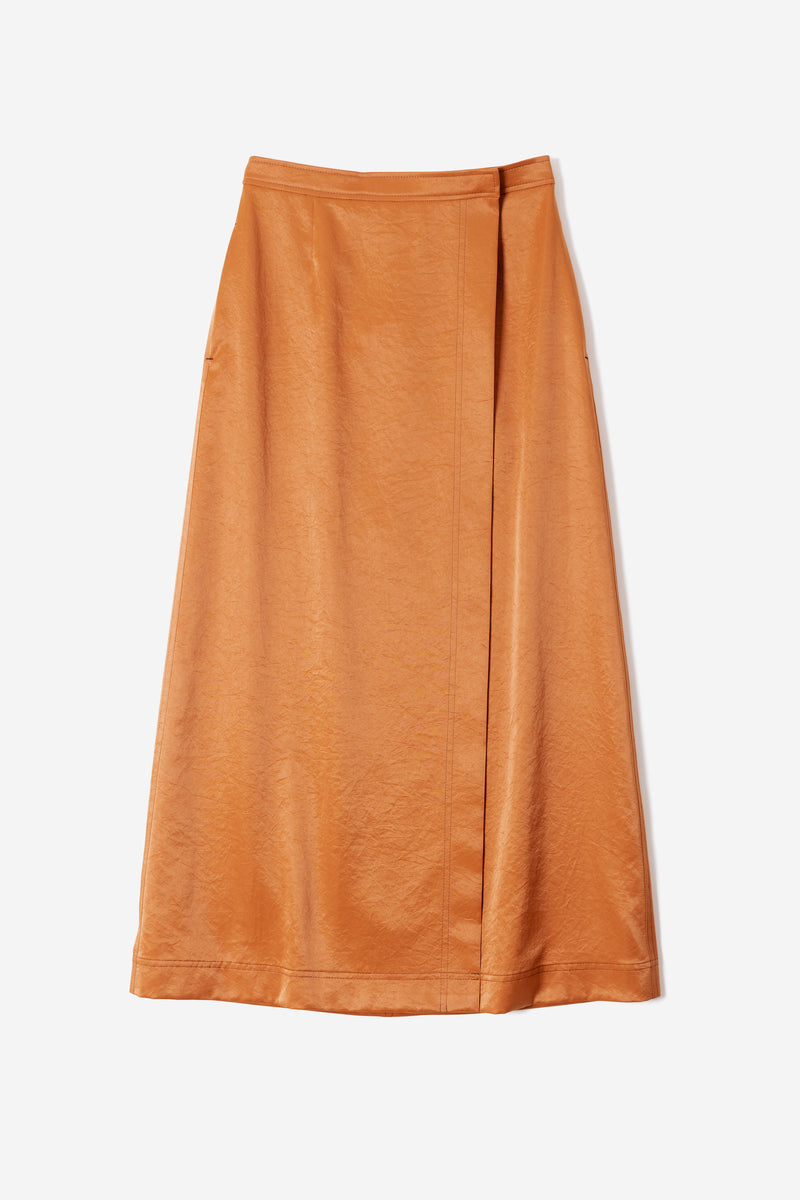 Vintage Pure Satin Skirt in Amber