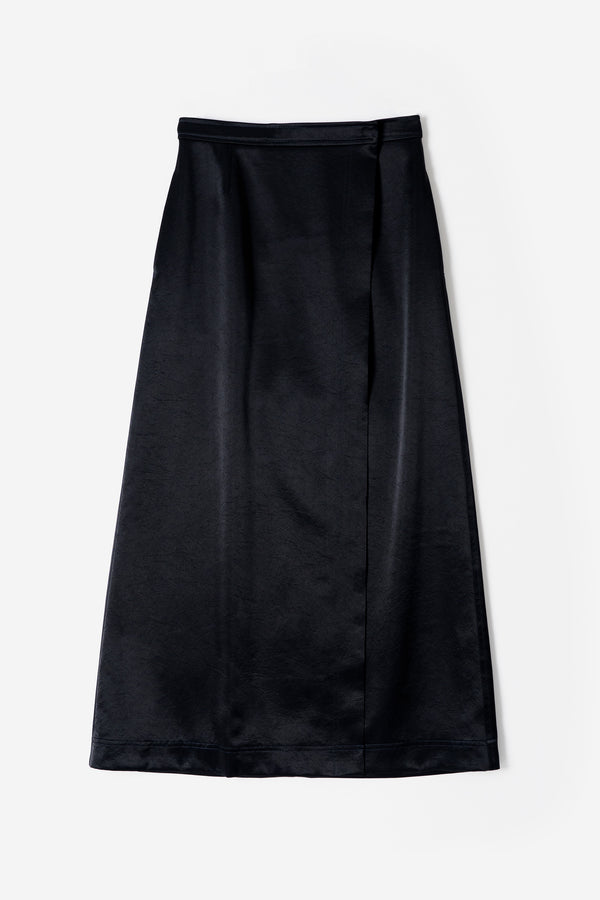 Vintage Pure Satin Skirt in Black